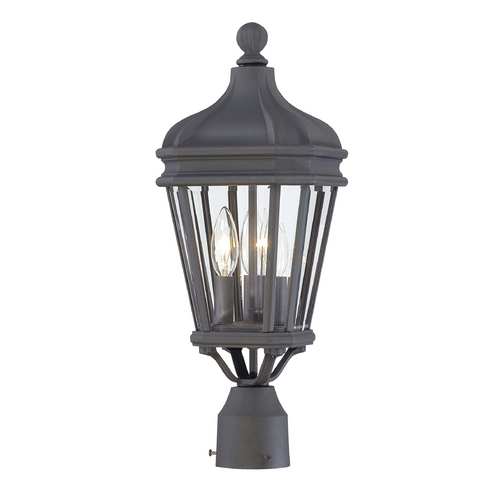 Minka Lavery Post Light with Clear Glass in Black Finish 8695-66