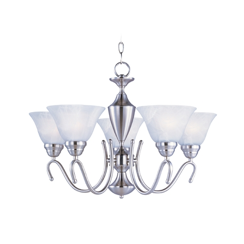Maxim Lighting Chandelier with White Glass in Satin Nickel Finish 12063MRSN