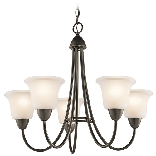Kichler Lighting Kichler Chandelier with White Glass in Olde Bronze Finish 42884OZ
