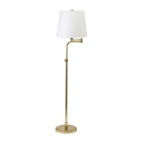 House of Troy Lighting Floor Lamp with White Shade in Raw Brass Finish TH700-RB