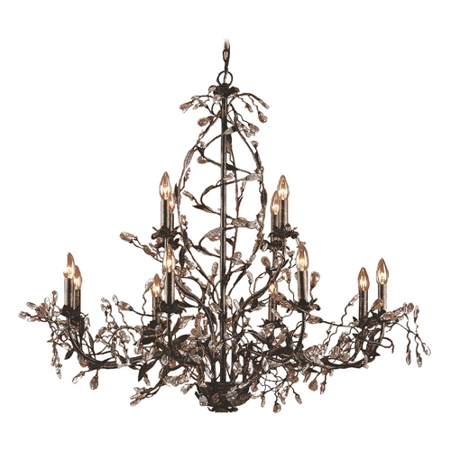 Elk Lighting Crystal Chandelier in Deep Rust Finish 8055/8+4