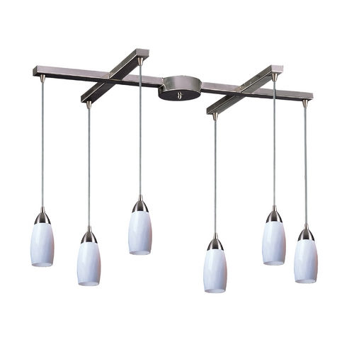 Elk Lighting Modern Multi-Light Pendant Light with Art Glass and 6-Lights 110-6WH