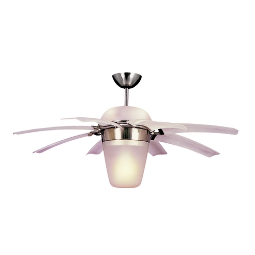 Monte Carlo Fans Modern Ceiling Fan with Light with White Glass in Brushed Steel / Matte Opal Finish 8ATR44BSD-L