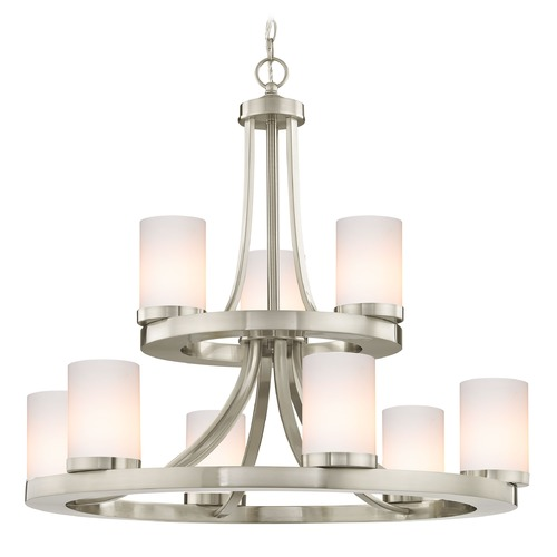 Design Classics Lighting Satin Nickel Chandelier with Gloss White Glass 9-Lt 2-Tier 163-09 GL1024C