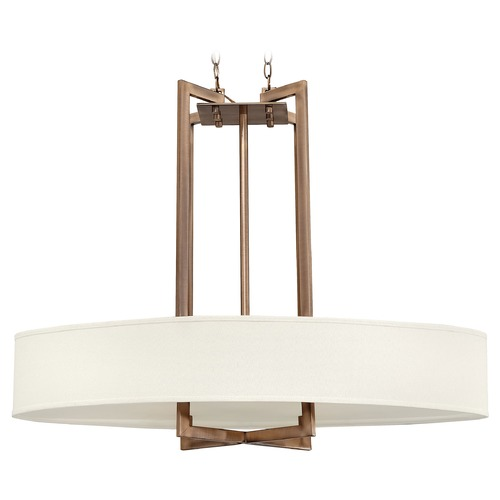Hinkley Lighting Modern Drum Pendant Light with White Shade in Brushed Bronze Finish 3208BR