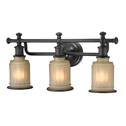 Elk Lighting LED Bathroom Light with Beige / Cream Glass in Oil Rubbed Bronze Finish 52012/3-LED