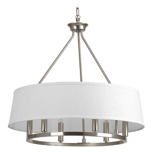 Progress Lighting Progress Lighting Cherish Brushed Nickel Pendant Light with Drum Shade P4618-09