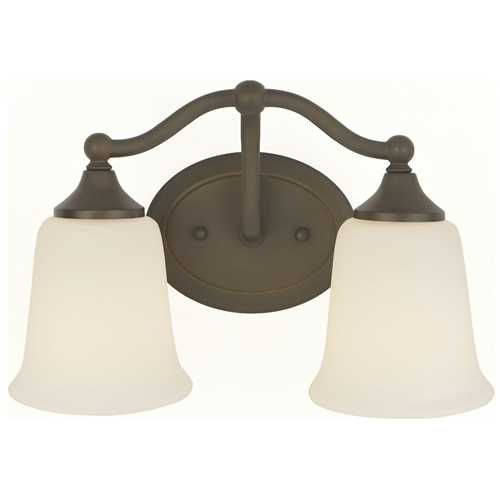 Home Solutions by Feiss Lighting Bathroom Light with White Glass in Oil Rubbed Bronze Finish VS10502-ORB