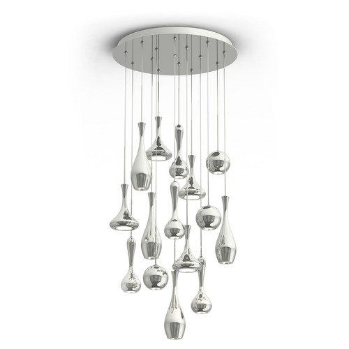 Modern Forms by WAC Lighting Acid LED Round Chandelier PD-ACID15R-PN