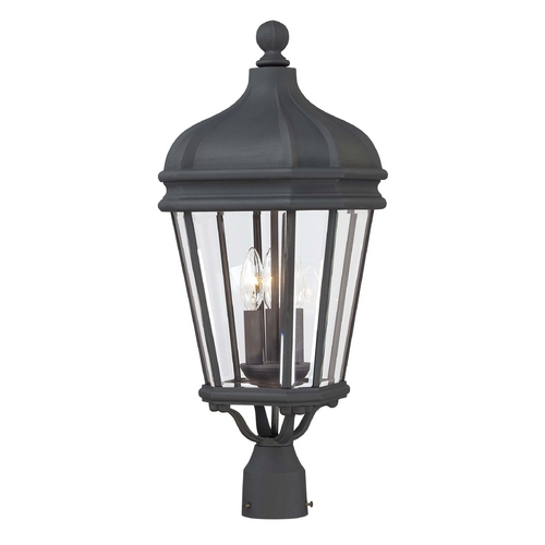 Minka Lavery Post Light with Clear Glass in Black Finish 8696-66