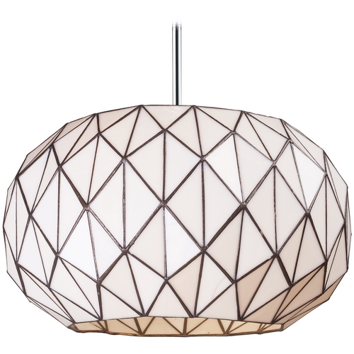Elk Lighting Pendant Light with White Glass in Chrome Finish 72022-3