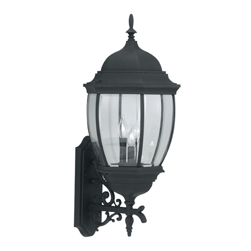 Designers Fountain Lighting Outdoor Wall Light with Clear Glass in Black Finish 2442-BK