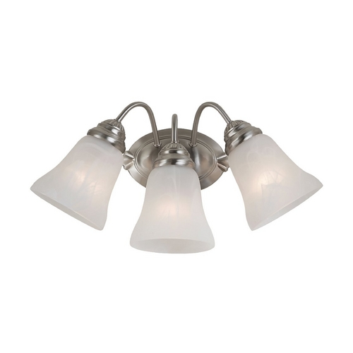 Sea Gull Lighting Bathroom Light with Alabaster Glass in Brushed Nickel Finish 44762-962