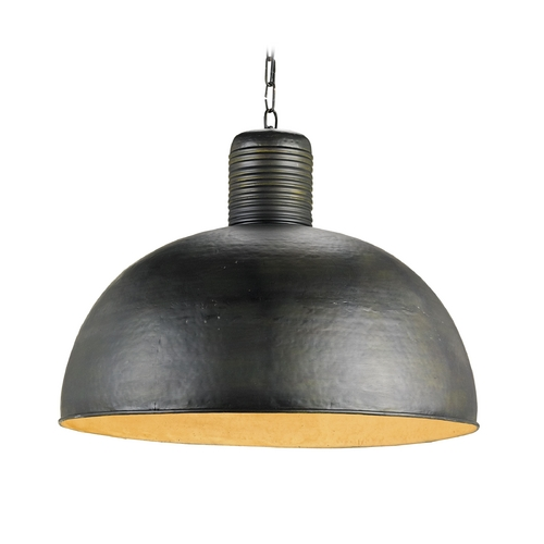 Currey and Company Lighting Farmhouse Pendant Light Dark Blackened Steel Saga by Currey and Company Lighting 9781