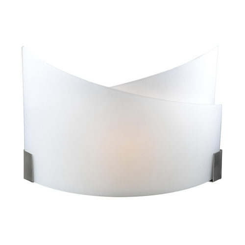 PLC Lighting Modern Sconce Wall Light with White Glass in Satin Nickel Finish 7544 SN