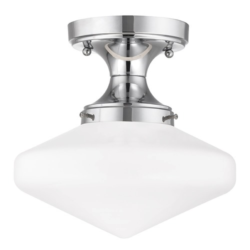 Design Classics Lighting 10-Inch Wide Chrome Vintage Style Schoolhouse Ceiling Light FDS-26 / GE10