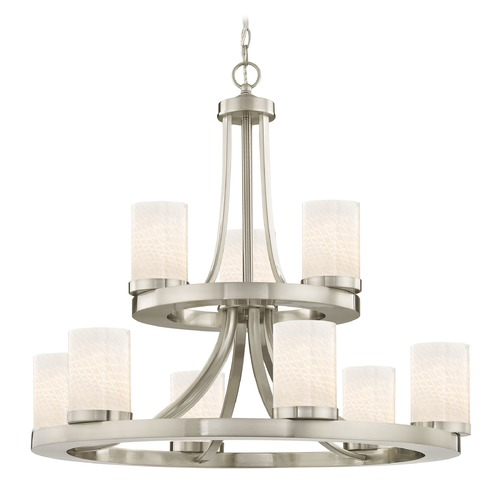 Design Classics Lighting Satin Nickel Chandelier with White Art Glass 9-Lt 2-Tier 163-09 GL1020C