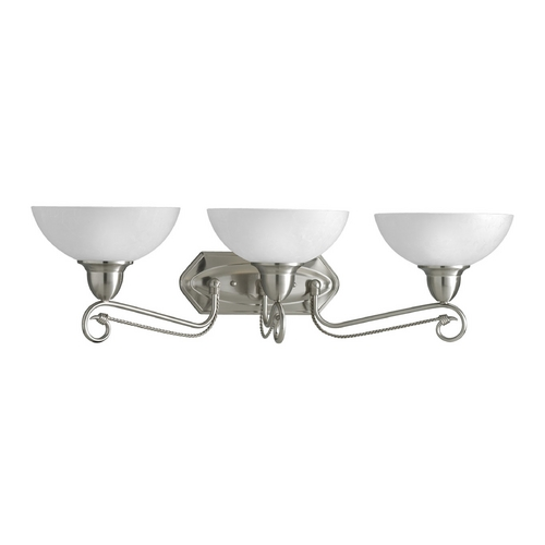 Progress Lighting Progress Bathroom Light with White Glass in Brushed Nickel Finish P3294-09