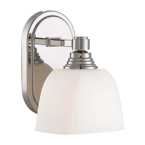 Minka Lavery Sconce Wall Light with White Glass in Polished Nickel Finish 4521-613