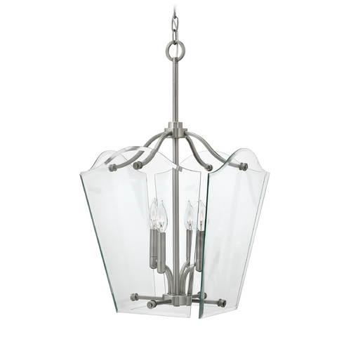 Hinkley Lighting Modern Pendant Light with Clear Glass in Polished Antique Nickel Finish 3006PL