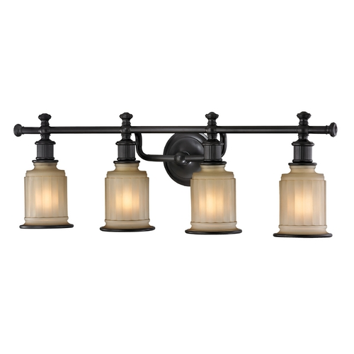 Elk Lighting Bathroom Light with Beige / Cream Glass in Oil Rubbed Bronze Finish 52013/4