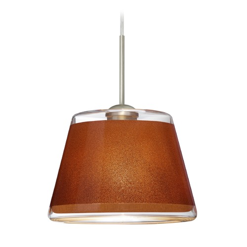 Besa Lighting Besa Lighting Pica Satin Nickel LED Mini-Pendant Light with Empire Shade 1JT-PIC9TN-LED-SN