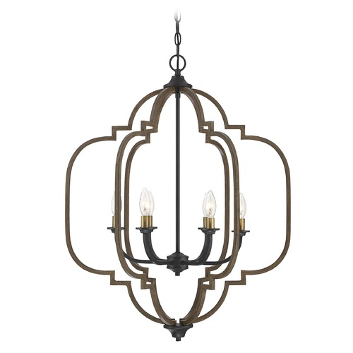 Savoy House Savoy House Lighting Westwood Barrelwood with Brass Accents Chandelier 1-0307-6-96