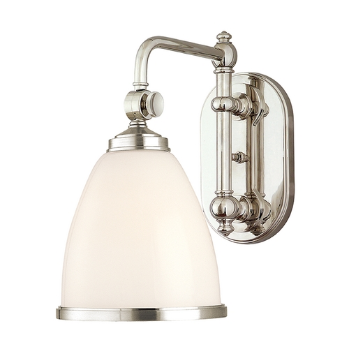 Hudson Valley Lighting Swing Arm Lamp with White Glass in Polished Nickel Finish 1428-PN