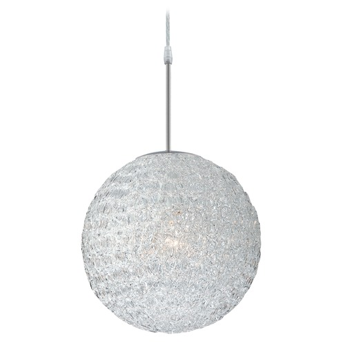 Lite Source Lighting Lite Source Lighting Icy Polished Steel Pendant Light with Oval Shade LS-19598