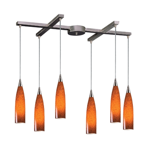 Elk Lighting Modern Multi-Light Pendant Light with Art Glass and 6-Lights 501-6ES