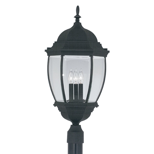 Designers Fountain Lighting Post Light with Clear Glass in Black Finish 2446-BK