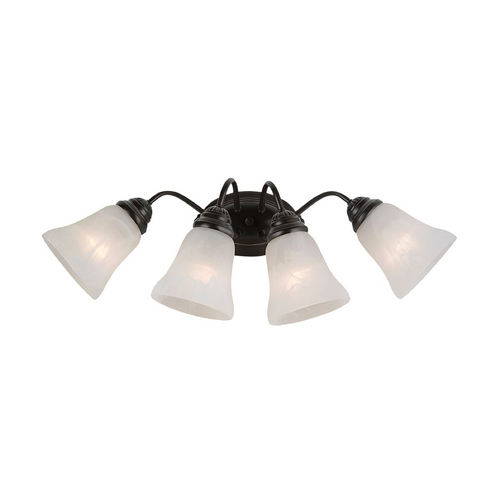 Sea Gull Lighting Bathroom Light with Alabaster Glass in Heirloom Bronze Finish 44763-782