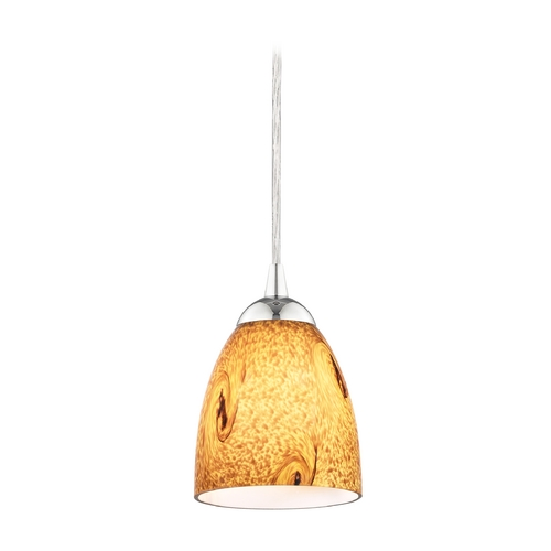 Design Classics Lighting Modern Mini-Pendant Light with Brown Art Glass 582-26 GL1001MB