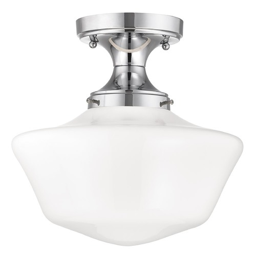 Design Classics Lighting 12-Inch Wide Chrome Schoolhouse Ceiling Light  FDS-26 / GA12