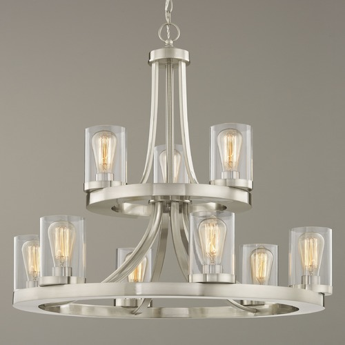 Design Classics Lighting Industrial Chandelier Satin Nickel with Clear Glass 9-Lt 2-Tier 163-09 GL1040C