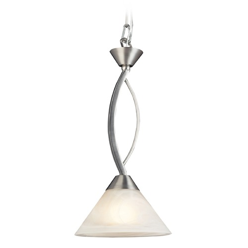 Elk Lighting Elk Lighting Elysburg Satin Nickel Mini-Pendant Light with Conical Shade 7634/1-LA