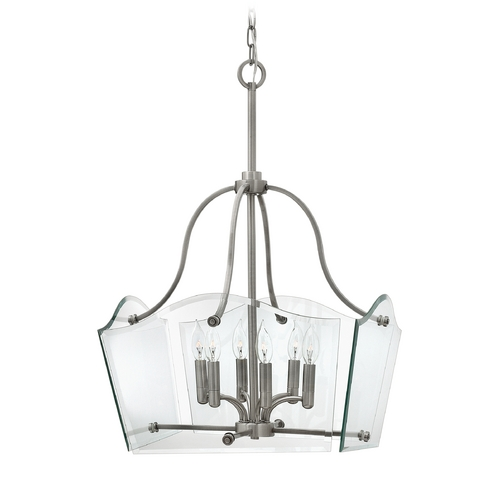 Hinkley Lighting Modern Pendant Light with Clear Glass in Polished Antique Nickel Finish 3004PL