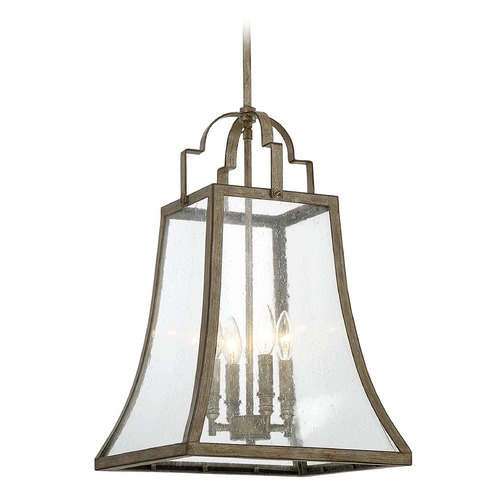 Savoy House Square Seeded Glass Pendant Light Bronze Savoy House 7-922-4-12