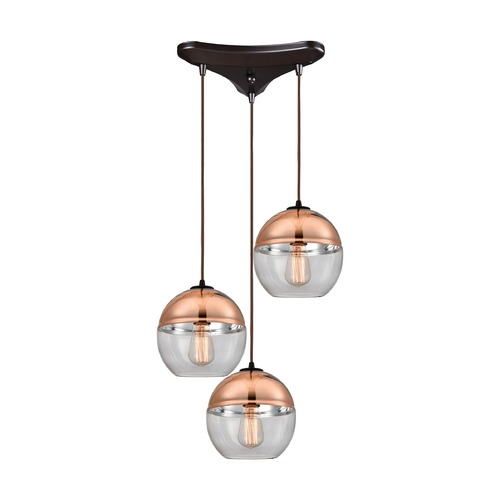 Elk Lighting Elk Lighting Revelo Oil Rubbed Bronze Multi-Light Pendant with Globe Shade 10490/3