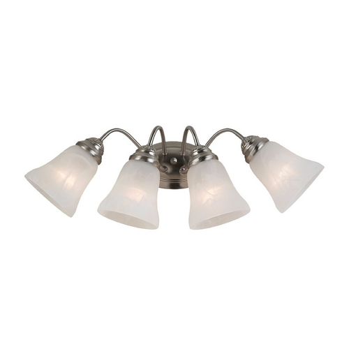 Sea Gull Lighting Bathroom Light with Alabaster Glass in Brushed Nickel Finish 44763-962