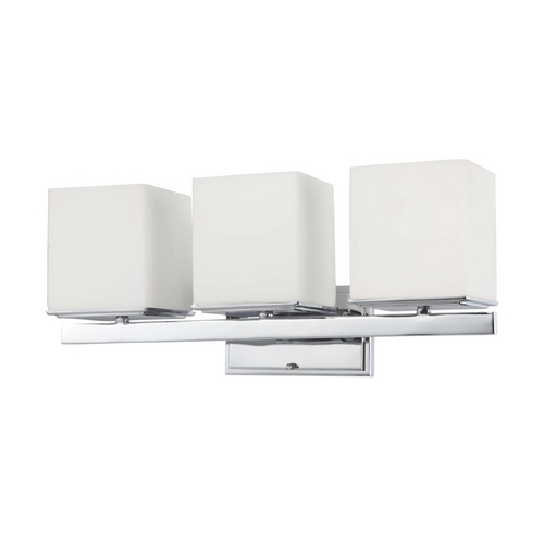 Nuvo Lighting Modern Bathroom Light with White Glass in Polished Chrome Finish 60/4083