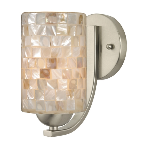 Design Classics Lighting Sconce with Mosaic Glass in Satin Nickel Finish 585-09 GL1026C