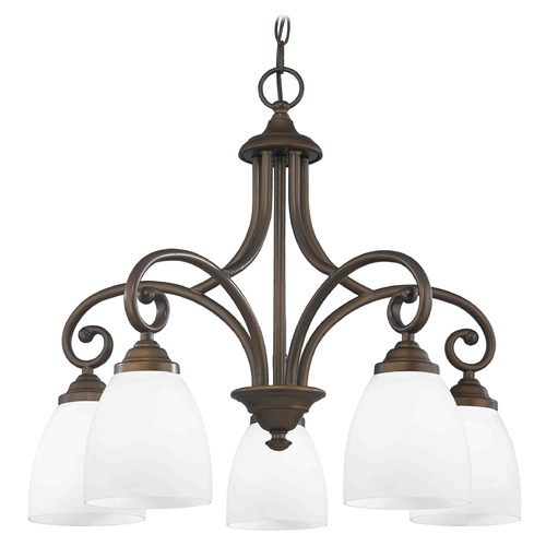 Design Classics Lighting Chandelier with White Glass in Bronze Finish 717-220 GL1028MB