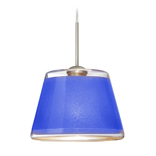 Besa Lighting Besa Lighting Pica Satin Nickel LED Mini-Pendant Light with Empire Shade 1JT-PIC9BL-LED-SN
