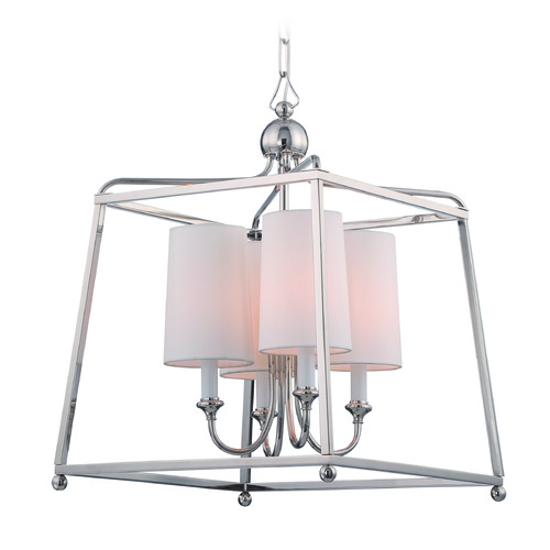 Crystorama Lighting Crystorama Lighting Sylvan Polished Nickel Pendant Light with Cylindrical Shade 2245-PN