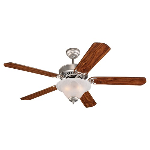 Sea Gull Lighting Sea Gull Lighting Quality Pro Delux Brushed Pewter Ceiling Fan with Light 15160B-255