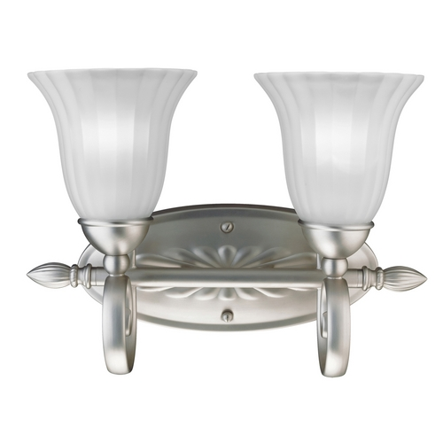 Kichler Lighting Kichler Bathroom Light with White Glass in Brushed Nickel Finish 5927NI