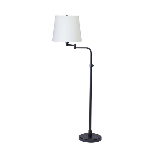 House of Troy Lighting Swing Arm Lamp with White Shade in Oil Rubbed Bronze Finish TH700-OB