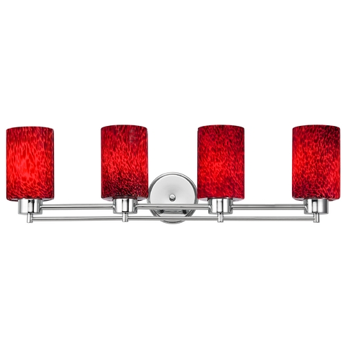 Design Classics Lighting Modern Bathroom Light with Red Glass in Chrome Finish 704-26 GL1018C