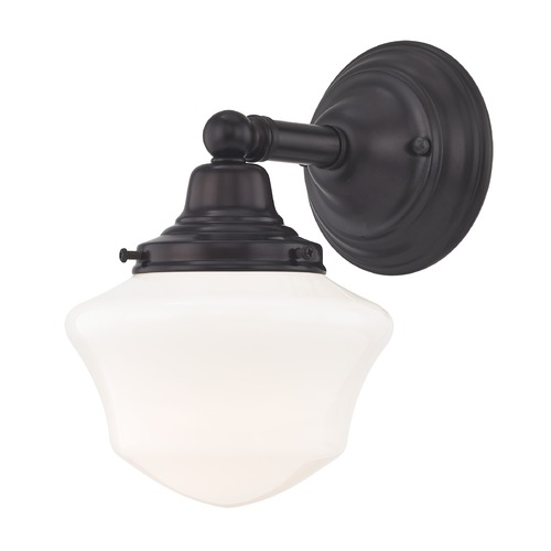 Design Classics Lighting Schoolhouse Sconce Bronze White Opal Glass 1 Light 6 Inch Width WC1-220 GC6